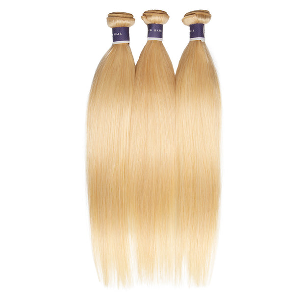 Top Raw Hair 613 Blonde Straight Hair Extensions 3 Bundles