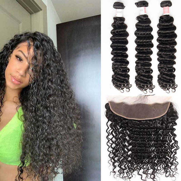 Top Virgin Deep Wave 3 Bundles with 13x4 Transparent Lace Frontal
