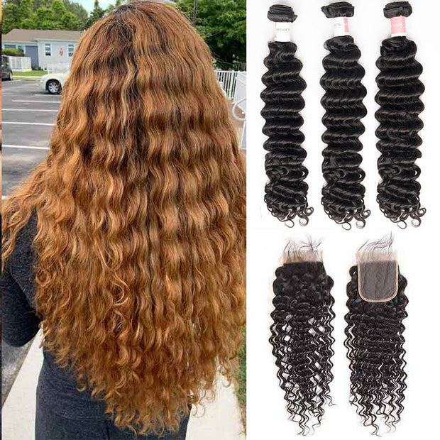 Top Virgin Deep Wave 3 Bundles with 4x4 Transparent Lace Closure