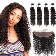 Top Raw Deep Wave 4 Bundles with 13x4 Frontal