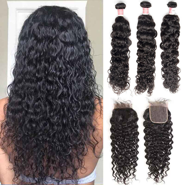 Top Virgin Italian Curly 3 Bundles with 4x4 Transparent Lace Closure