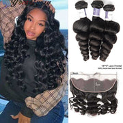 Top Raw Loose Wave 3 Bundles with 13x4 Frontal