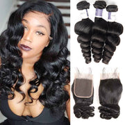 Top Raw Loose Wave 3 Bundles with 4x4 Closure