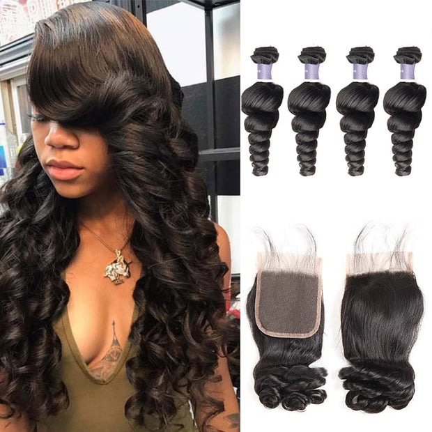 Top Raw Loose Wave 4 Bundles with 4x4 Closure
