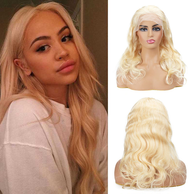 Top Raw 613 Blonde 13x6 Body Wave Lace Front Wig 130 Density with Baby Hair