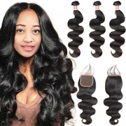 Top Virgin Body Wave 3 Bundles with 4x4 Closure