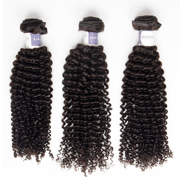 Top Raw Kinky Curly 3 Bundles with 13x4 Frontal