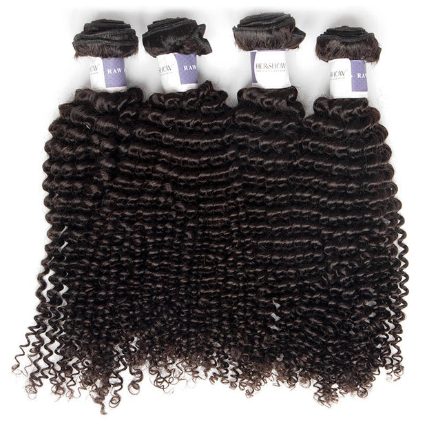 Top Raw Kinky Curly 4 Bundles with 4x4 Closure