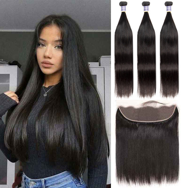 Top Raw Straight Hair 3 Bundles with 13x4 Frontal