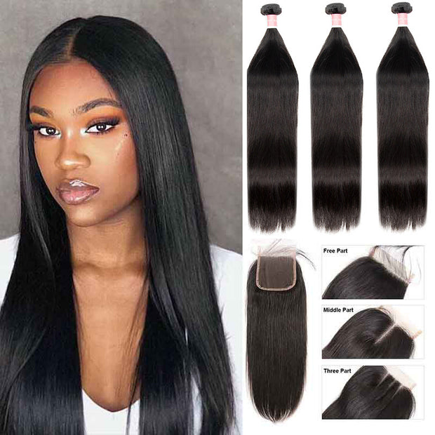 Top Virgin Straight Hair 3 Bundles with 4x4 Closure