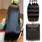 Top Raw Straight Hair 4 Bundles with 13x4 Frontal