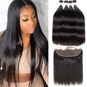 Top Virgin Straight Hair 4 Bundles with 13x4 Transparent Lace Frontal