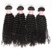 Top Virgin Kinky Curly 4 Bundles with 4x4 Closure