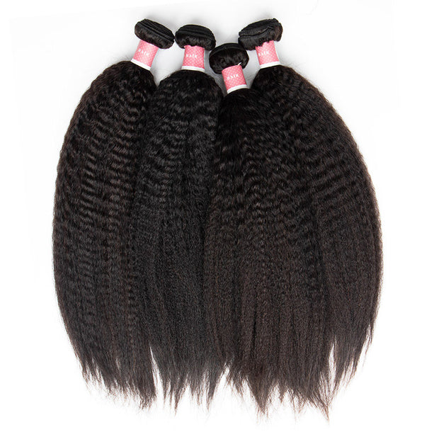 Top Virgin Kinky Straight 4 Bundles with 4x4 Closure