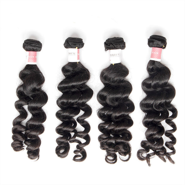 Top Virgin Loose Curly 4 Bundles with 13x4 Frontal