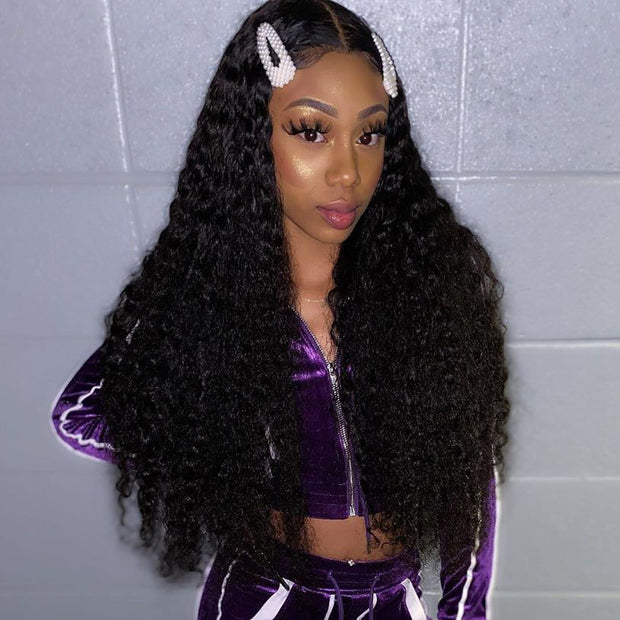 Top Virgin 13x4 Deep Wave Lace Front Wig 150 Density with Baby Hair