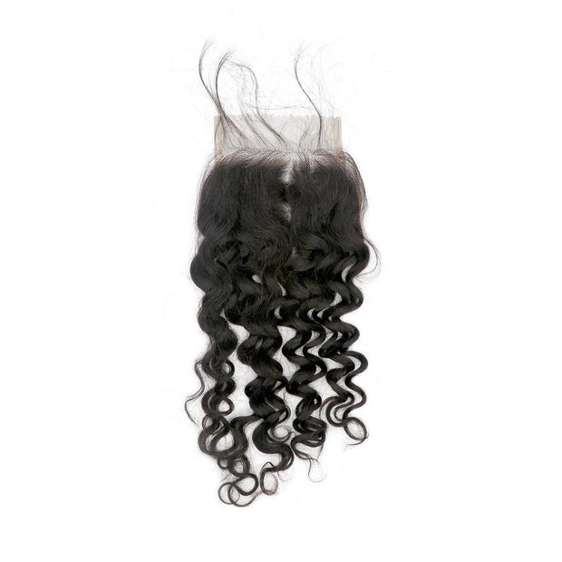 Nusface Brazilian Loose Curly 3 Bundles with 4x4 Lace Closure Best Unprocessed Hair