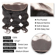 Top Virgin Body Wave 4 Bundles with 13x4 HD Lace Frontal