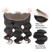 Top Virgin Body Wave 3 Bundles with 13x4 HD Lace Frontal