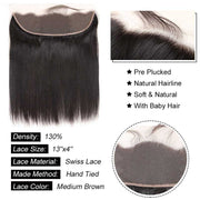 Top Virgin Straight Hair 4 Bundles with 13x4 HD Lace Frontal