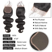 Top Virgin Body Wave 4 Bundles with 4x4 HD Lace Closure