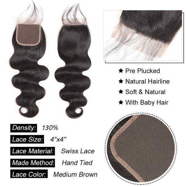 Top Raw Body Wave 4 Bundles with 4x4 Closure
