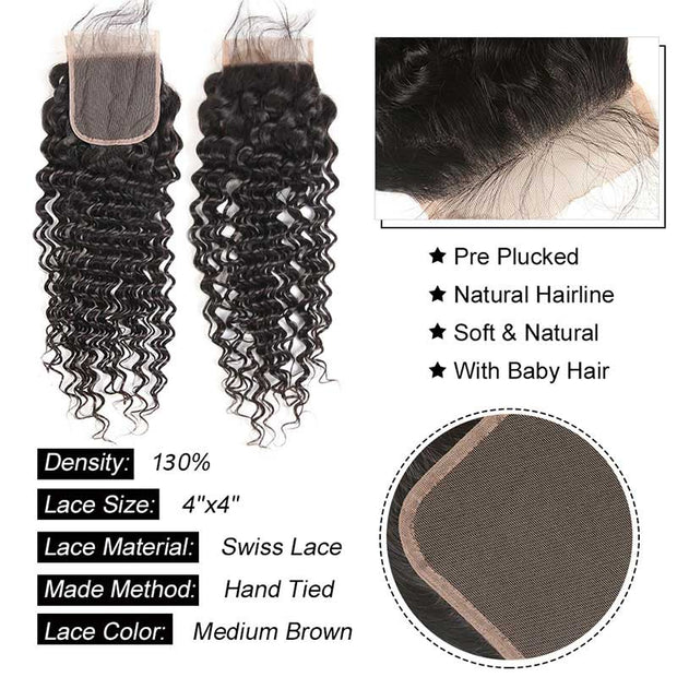 Top Virgin Deep Wave 4 Bundles with 4x4 Transparent Lace Closure
