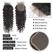 Top Virgin Italian Curly 4 Bundles with 4x4 Transparent Lace Closure