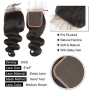 Top Raw Body Wave 4 Bundles with 5x5 Closure