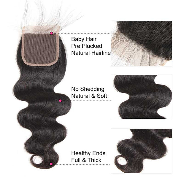 Top Virgin Body Wave 3 Bundles with 5x5 Closure