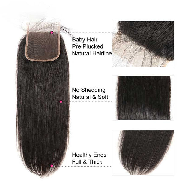 Top Virgin Straight Hair 4 Bundles with 5x5 Transparent Lace Closure