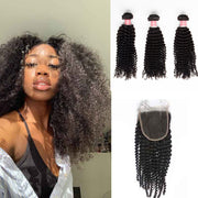 Top Virgin Kinky Curly 3 Bundles with 4x4 Closure
