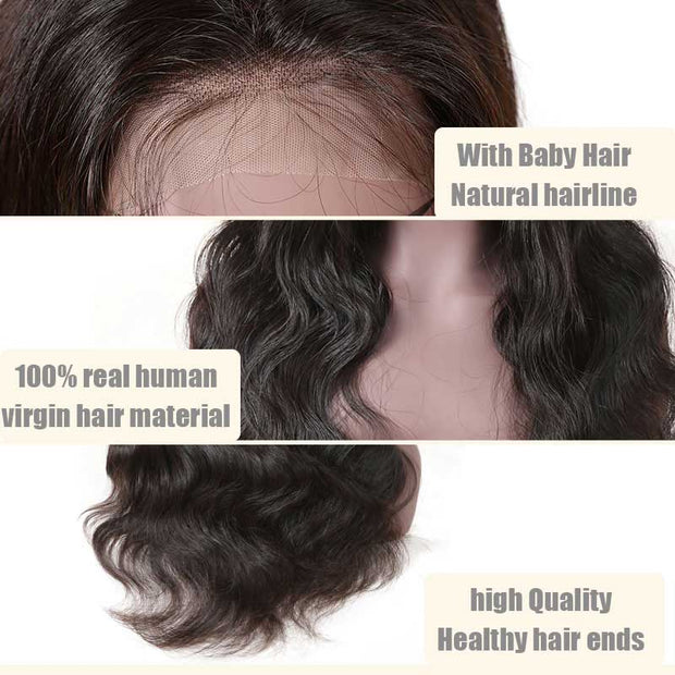 Top Raw Body Wave Lace Front Wig 150 Density with Baby Hair