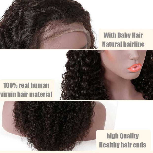 "Top Virgin 13x6 Italian Curly Lace Front Wig 150 Density with Baby Hair (18""-26"" Available)"
