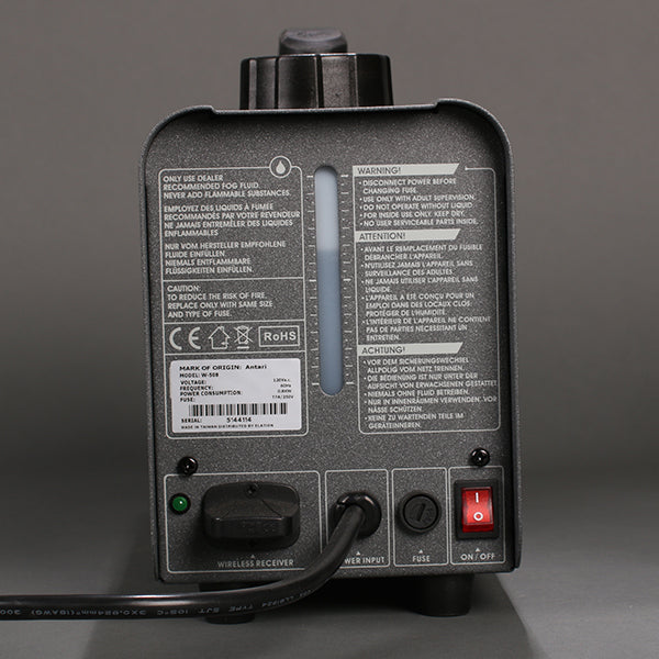 Back view of the Antari W-508 wireless fog machine.
