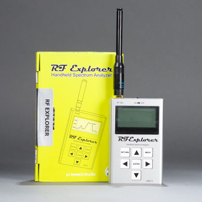 RF Explorer handheld spectrum analyzer.