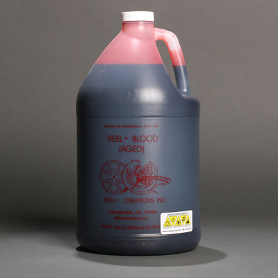Bottle of reel blood aged blood fake stage blood