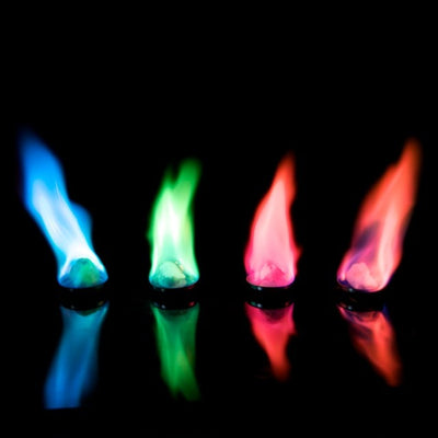 Colored Fire Fluid in magenta, orange, green and blue