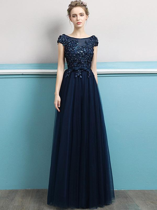 Embroidery Sequined Solid Color Sleeveless Tulle Stitching Party Dresses
