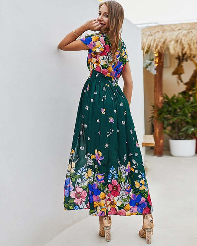 Pure Cotton Slit Casual Multi Print Skater Casual Dresses