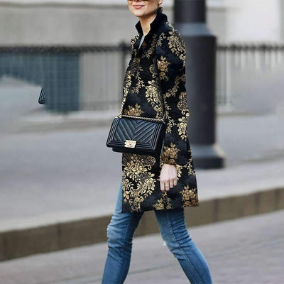 Fashion Print Stand collar Long sleeve Coats