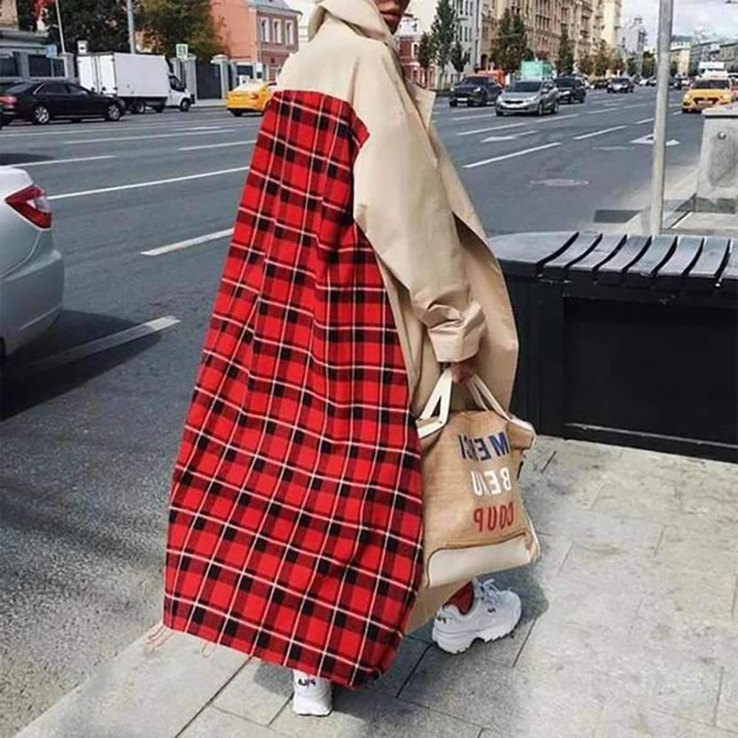 Fashion Gored Plaid Long sleeve Coats