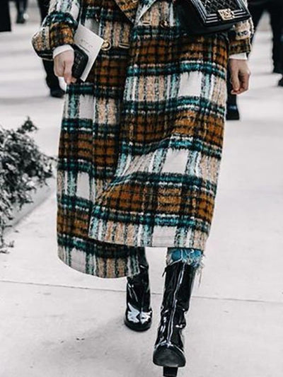 Big lapel long plaid women coats