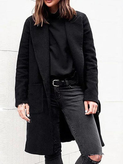 Solid Pockets Lapel Shawl Collar Single-Breasted Winter Lady's Warm Coats