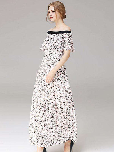 Elegant Slash Neck Floral Print Maxi Casual Dresses