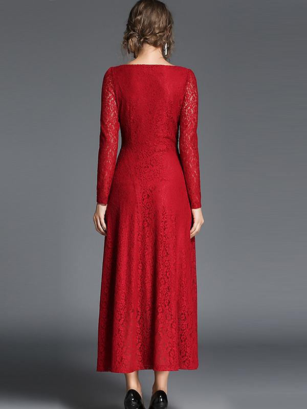 Elegant O-Neck Long Sleeve Lace Maxi Dress