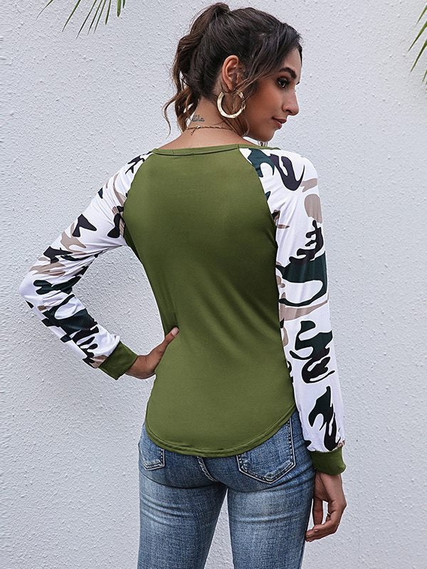 Women Long-sleeved stitching print top camouflage T-shirts