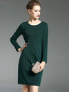 Elegant O-Neck Long Sleeve Pure Color Slim Dress
