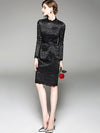 Elegant Pure Color Long Sleeve Lace Bodycon Dress