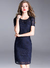 Elegant O-Neck Short Sleeve Embroidery Bodycon Dress